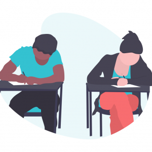 Two people sitting on desks and studying